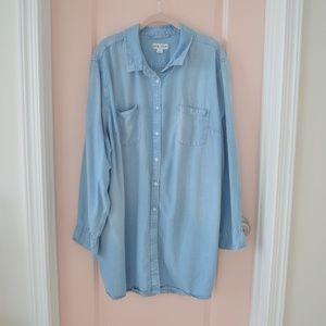 Light Wash Chambray Long Sleeve Tunic